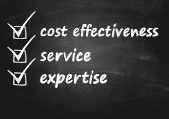 business background concept for cost effectiveness, service and expertise