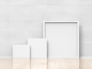 3d rendered blank square frame on white wall