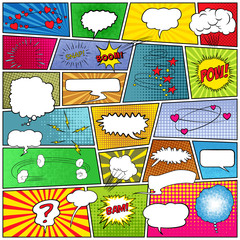 Abstract set of comic template