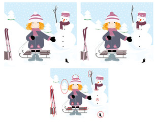 Find 10 difference - winter landscape and playing, smiling girl with skies, snowman and snow on trees