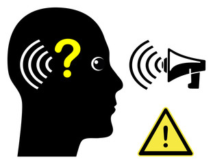 Person with Hearing Loss. Concept sign of a man with hearing impairment