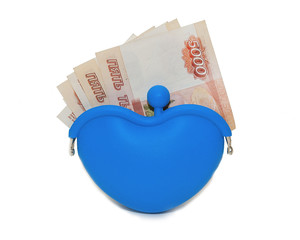 Blue purse with money on a white background