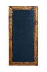 Black blackboard in wooden frame with eraser and chalk