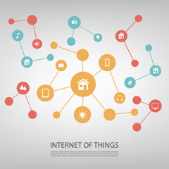 Colorful Network Design Concept With Icons - Internet Of Things