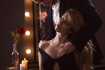Man caressing his lover