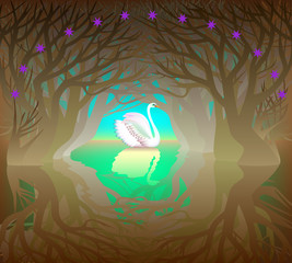 Illustration of a swan in the fairyland forest, vector cartoon image.