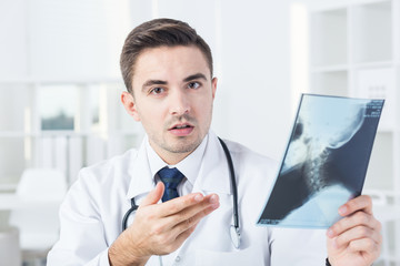 Looking at xray photo