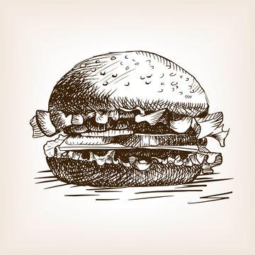 Burger sandwich hand drawn sketch style vector