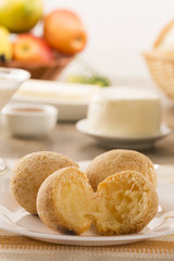 Brazilian cheese buns . Table cafe in the morning with cheese bread.