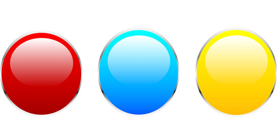 Three buttons of red blue and yellow