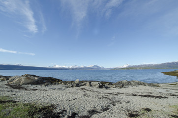 Large lake and mountains
