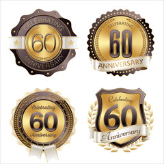 Gold and Brown Anniversary Badges 60th Year's Celebration