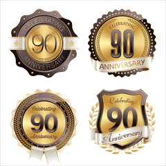 Gold and Brown Anniversary Badges 90th Year's Celebration