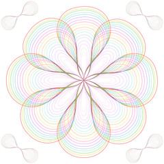 Bunte Linien zu einer Blüte geformt auf weißem Hintergrund im quadratischen Format