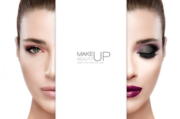Beauty and Makeup concept. Two Half Faces Isolated