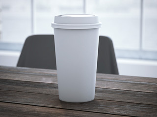 Blank white cup on the wooden table. 3d rendering