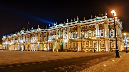 the state museum Hermitage in St. Petersburg a night look in the