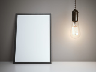Blank white frame with glowing bulb. 3d rendering