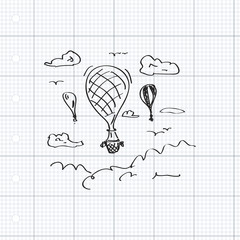 Simple doodle of a hot air balloon