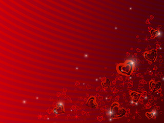 Scattered red and black hearts on red background