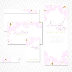 Vector card with pastel pink roses