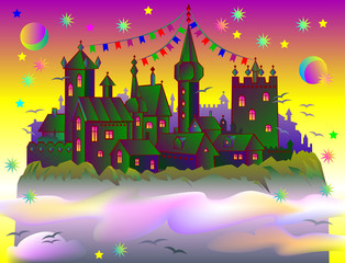 Fairyland fantasy castle, vector cartoon image.