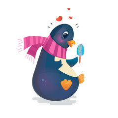 Valentine's Day Penguin. Cute penguin with ice cream in a scarf. Romantic vector illustration. Can be used for books, cards, printing.