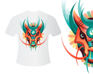 Mascot dragon for printing on shirts and other items. Vector illustration of colored dragon