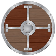 Wooden Viking shield with  iron frame