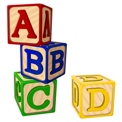 Vector illustration of four stacked alphabet blocks.