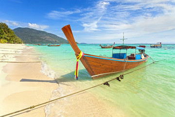 Long tail boat at a beautiful beach, Thailand.