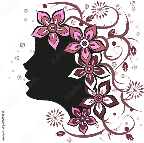 A Beautiful Girls Head Silhouette With Flowers On White Background