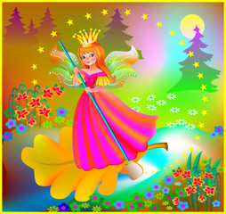 Beautiful fairy floating down the river in the magic forest, vector cartoon image.