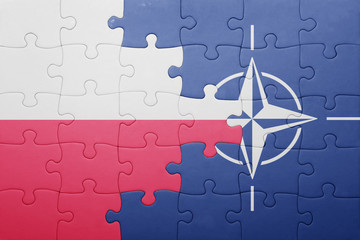 puzzle with the national flag of poland and nato