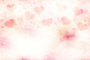 Bright grunge textured pink red color Valentine's Day Hearts background with copy space background.