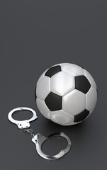 Soccer ball with handcuffs