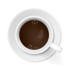 kaffeetasse mit untersetzter von oben V