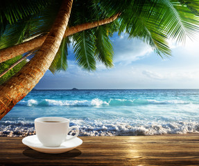 Fototapete - beach and cup of coffee
