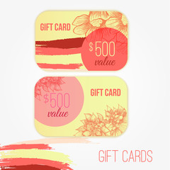 Set of trendy gift card templates with flowers and colorful brush strokes for your design.