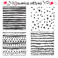 Vector hand drawing cute samless patterns backgrounds set with stars, stripes and zig zags.