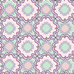 Abstract geometric seamless  pattern. Floral ornamenral texture.