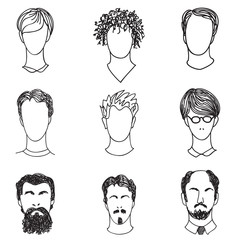Men with various hair style and beard. Man avatar set.  Handsome