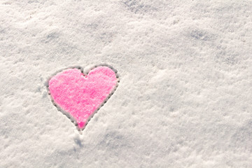 Snow with drown heart shape