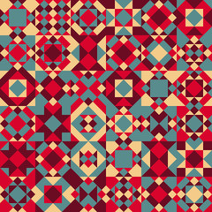 Vector Seamless Blue Red Color Overlay Irregular Geometric Blocks Quilt Pattern