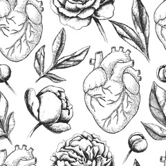 Vector seamless pattern with anatomical human heart and botanica