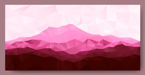 Triangle low poly polygon geometrical background with pink mountain