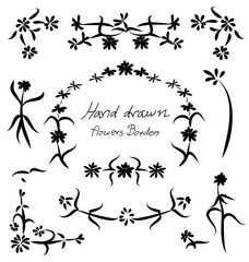 Hand drawn floral flower frame and borders element design