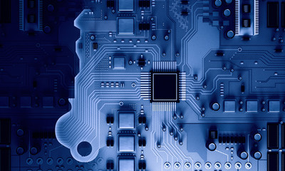 Circuit board blue background