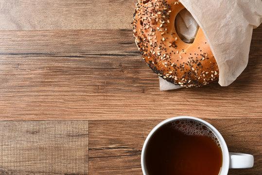 Bagel Coffee Copy Space