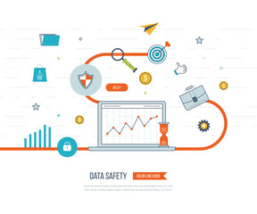 Data protection and safe work. Business protection. Flat shield icon.